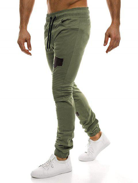 Casual Holes Patch Knee Pleated Jogger Pants - ARMY GREEN S