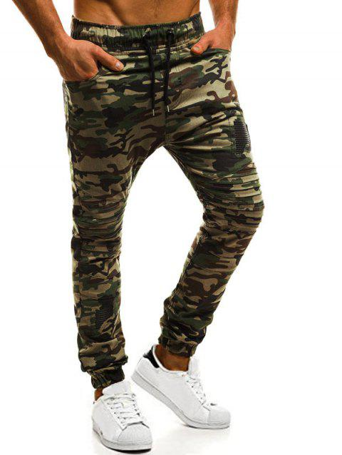 Casual Holes Patch Knee Pleated Jogger Pants - ACU CAMOUFLAGE S