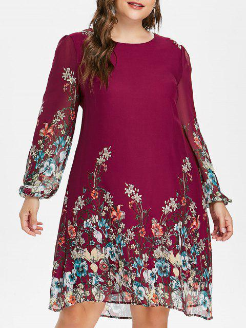 Plus Size Casual Print Shift Dress - RED WINE 4X