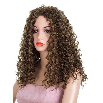 Long Length Capless Kinky Curly Party Synthetic Wig - BROWN