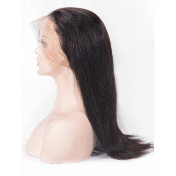 Human Hair Free Part Straight Lace Front Wig - NATURAL BLACK 18INCH