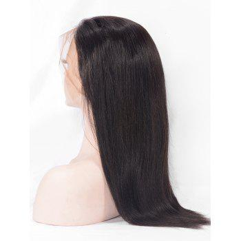Human Hair Free Part Straight Lace Front Wig - NATURAL BLACK 14INCH