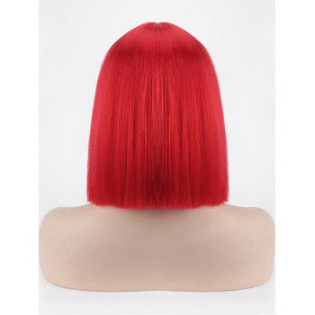 Short Full Bang One-length Straight Bob Synthetic Party Wig - RED