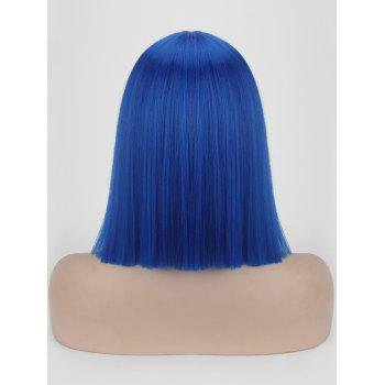 Short Full Bang One-length Straight Bob Synthetic Party Wig - OCEAN BLUE