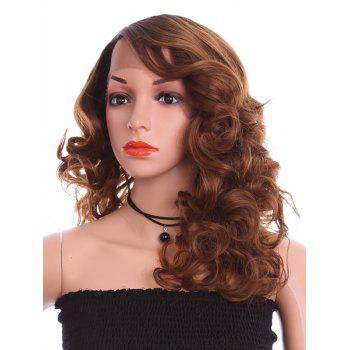 Long Side Parting Body Wave Party Lace Front Synthetic Wig - BROWN