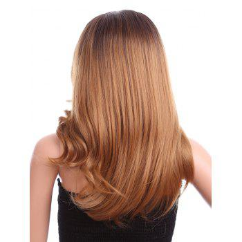 Long Side Parting Straight Colormix Synthetic Lace Front Wig - LIGHT BROWN