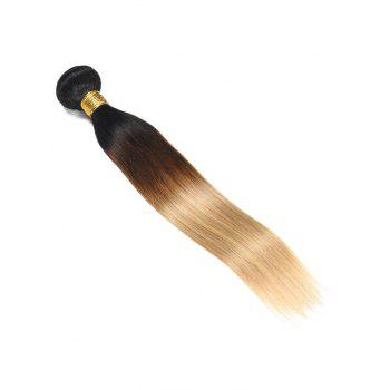 Real Human Hair Ombre Straight Hair Weft - multicolor 14INCH