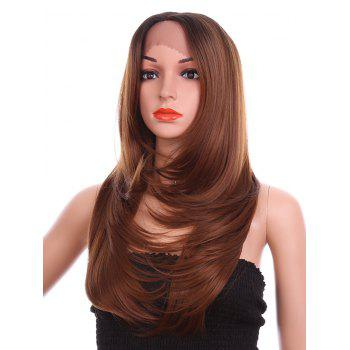 Long Free Part Layered Tail Adduction Straight Lace Front Synthetic Wig - BROWN