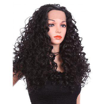 Free Part Long Deep Culry Synthetic Lace Front Wig - BLACK