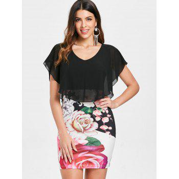 Floral Print Slim Chiffon Overlay Dress - BLACK XL