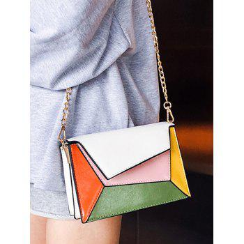 PU Leather Color Block Chain Crossbody Bag - WHITE