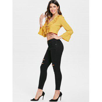 Lace Up Flare Sleeve Crop Top - YELLOW L