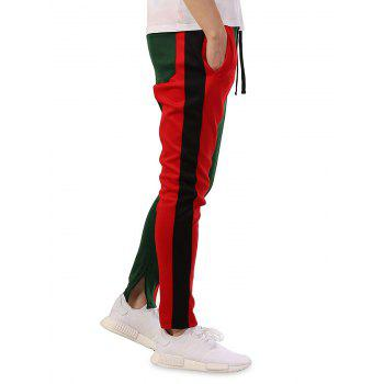 Color Block Patch Casual Sports Pants - GREEN 3XL