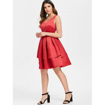 Open Back Flared Cocktail Dress - RED XL