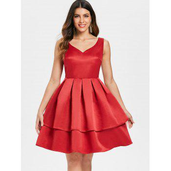 Open Back Flared Cocktail Dress - RED 2XL