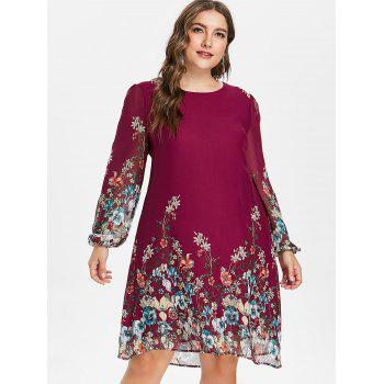 Plus Size Casual Print Shift Dress - RED WINE 2X