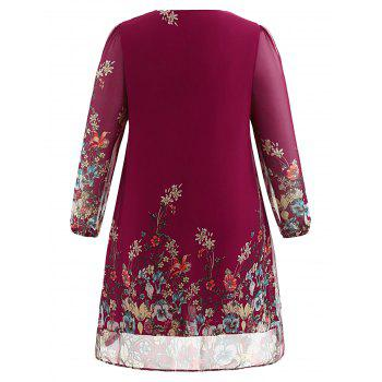 Plus Size Casual Print Shift Dress - RED WINE 1X