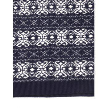 Crew Neck Cross Zig Zag Pattern Sweater - BLUEBERRY BLUE L
