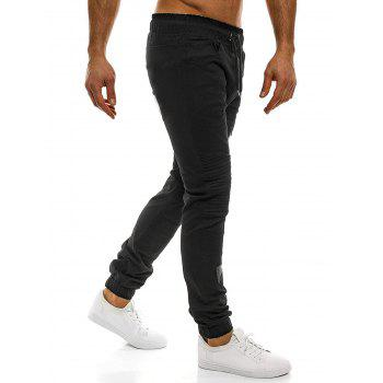 Casual Holes Patch Knee Pleated Jogger Pants - BLACK L