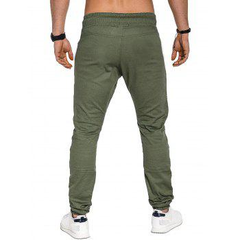 Casual Holes Patch Knee Pleated Jogger Pants - ARMY GREEN XS