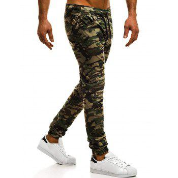 Casual Holes Patch Knee Pleated Jogger Pants - ACU CAMOUFLAGE XS