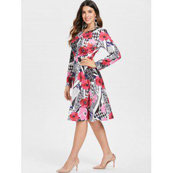 Abstract Print High Waist Dress - multicolor M