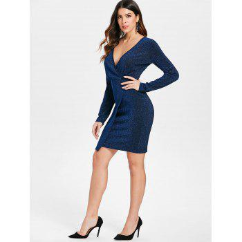 Long Sleeve Shiny Faux Wrap Dress - BLUE XL