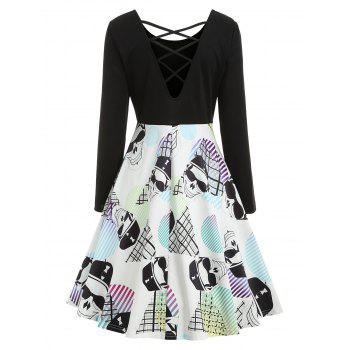 Halloween Skull Print Criss-cross Dress - BLACK L