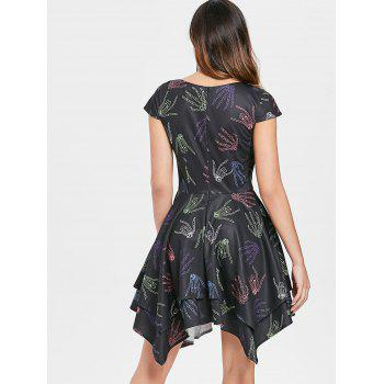 Halloween Skeleton Hands Handkerchief Dress - BLACK M