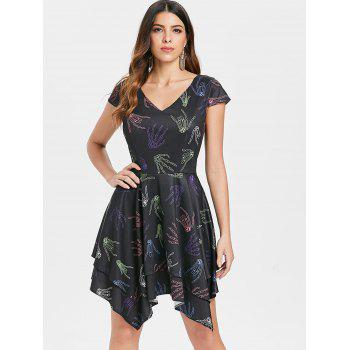 Robe Mouchoir Halloween Main Squelette - Noir L
