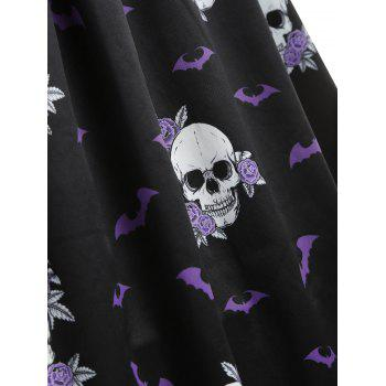 Halloween Skull Print Pin Up Dress - BLACK L