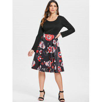 Sugar Skull Print Criss-cross Dress - BLACK M