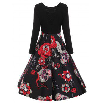 Sugar Skull Print Criss-cross Dress - BLACK XL