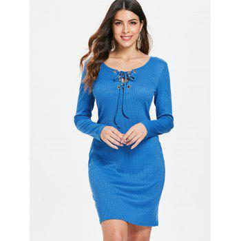 Lace Up Ribbed Dress - BLUE M