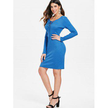 Lace Up Ribbed Dress - BLUE L