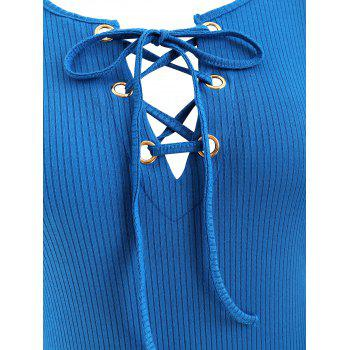 Lace Up Ribbed Dress - BLUE XL