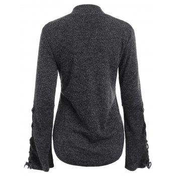 Mock Neck Lace-up Sweater - DARK GRAY M