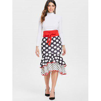 Polka Dot Tie Waist Maxi Mermaid Skirt - BLACK M