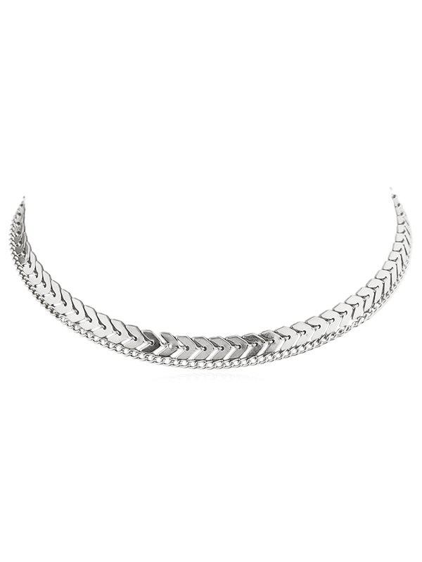 Layer Fishbone Alloy Chain Necklace - SILVER