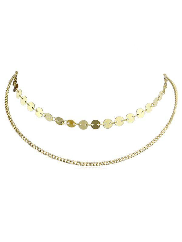 Alloy Chain Layer Disc Necklace - GOLD