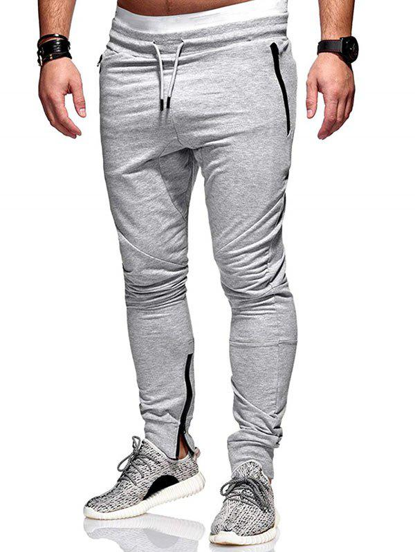 Side Zip Pockets Hem Jogger Pants - LIGHT GRAY M