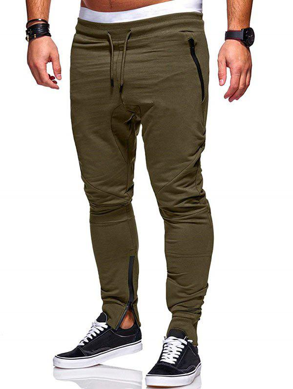 Side Zip Pockets Hem Jogger Pants - ARMY GREEN S