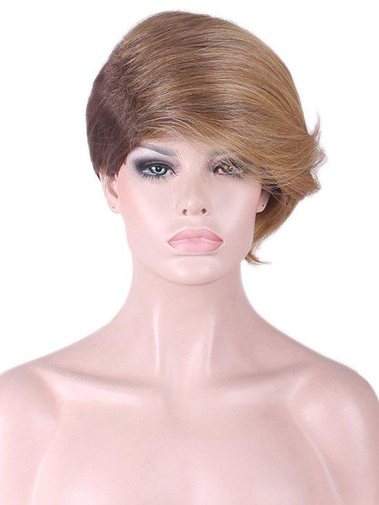 Short Sideswept Bang Straight Colormix Synthetic Wig - multicolor