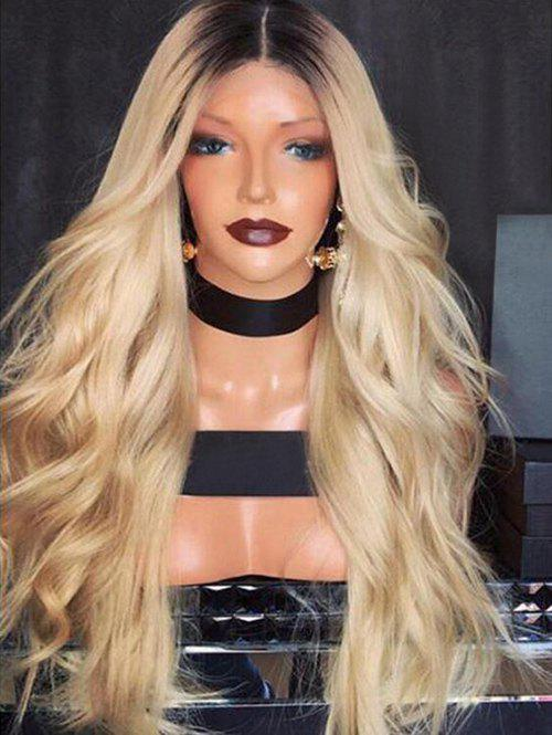 Synthetic Middle Part Ombre Long Wavy Wig - multicolor
