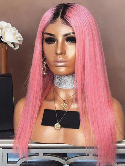 Long Ombre Center Parting Straight Synthetic Party Wig - multicolor