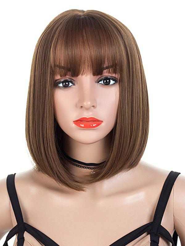 Neat Bang Short Straight Bob Synthetic Wig - BROWN