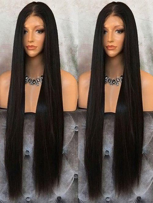 Middle Part Long Straight Capless High Temperature Synthetic Fiber Wig - BLACK