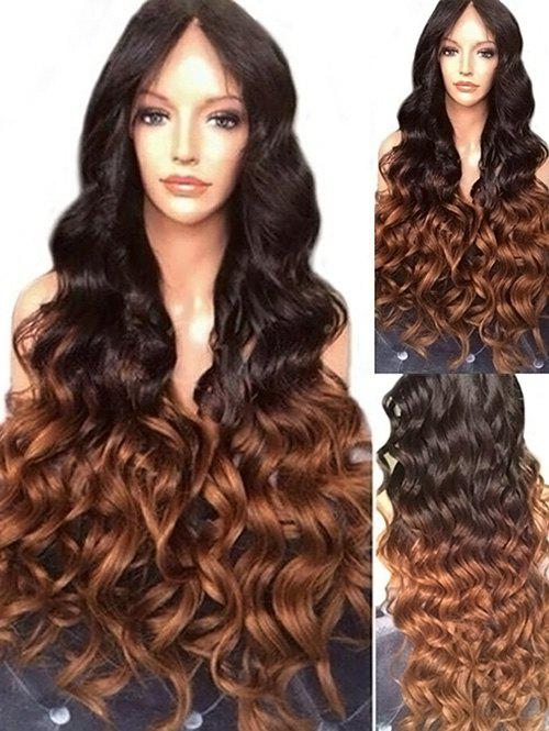 Long Length Ombre Center Parting Body Wave Synthetic Wig - multicolor