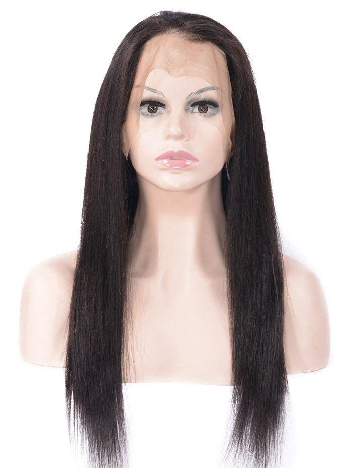 Human Hair Free Part Straight Lace Front Wig - NATURAL BLACK 10INCH