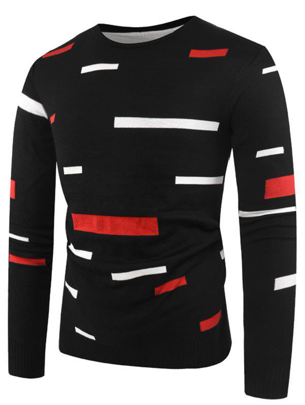 Rectangle Pattern Casual Pullover Sweater - BLACK M